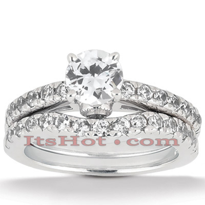 14K Gold Round Diamond Engagement Ring Set 0.98ct Main Image