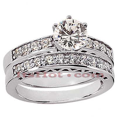 14K Gold Round Diamond Engagement Ring Set 1.04ct Main Image
