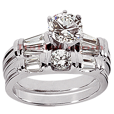 14K Gold Designer Bar and Prong Set Diamond Engagement Ring Mounting Set 1.05ct
