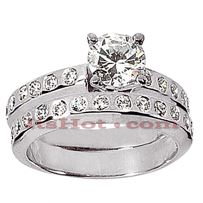 14K Gold Designer Round Diamond Engagement Ring Set 1.06ct Main Image