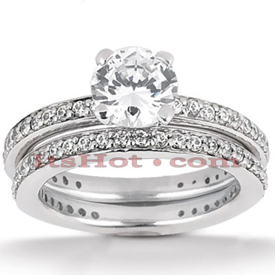 14K Gold Designer Diamond Engagement Ring Set 1.21ct Main Image