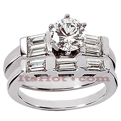 14K Gold Designer Diamond Engagement Ring Set 1.28ct Main Image