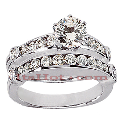 14K Gold Designer Round Diamond Engagement Ring Set 1.40ct Main Image