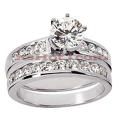 14K Gold Designer Diamond Engagement Ring Set 1.40ct Main Image