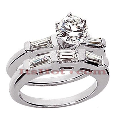14K Gold Designer Baguette and Round Diamond Engagement Ring Set 1.41ct Main Image