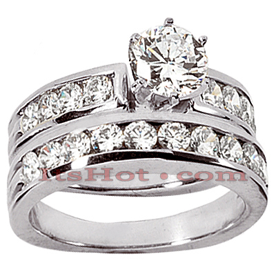 14K Gold Channel and Prong Set Diamond Engagement Ring Set 1.44ct Main Image