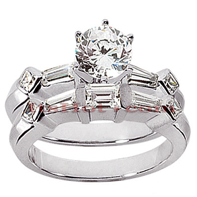 14K Gold Designer Diamond Engagement Ring Set 1.46ct Main Image