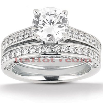 14K Gold Designer Diamond Engagement Ring Set 1.71ct Main Image