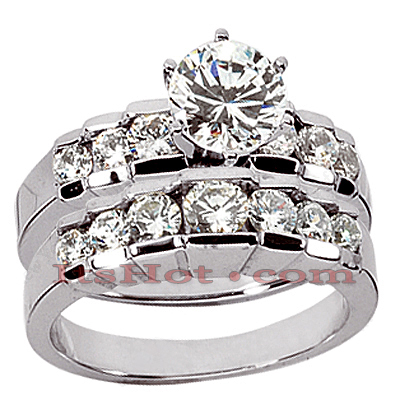 14K Gold Designer Diamond Engagement Ring Set 2.15ct Main Image