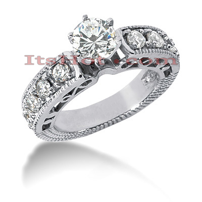 14K Gold Designer Diamond Engagement Ring Set 2.30ct