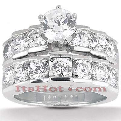 14K Gold Designer Round Diamond Engagement Ring Set 2.70ct Main Image