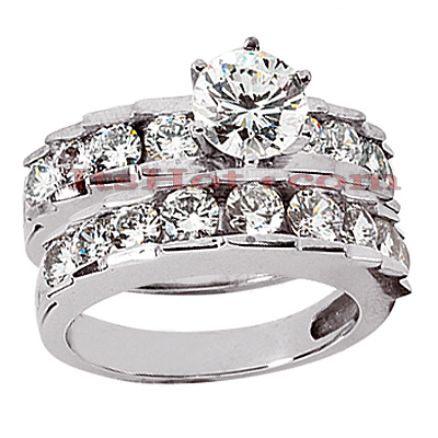 14K Gold Designer Diamond Engagement Ring Set 2.71ct Main Image