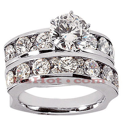 14K Gold Designer Diamond Engagement Ring Set 2.90ct