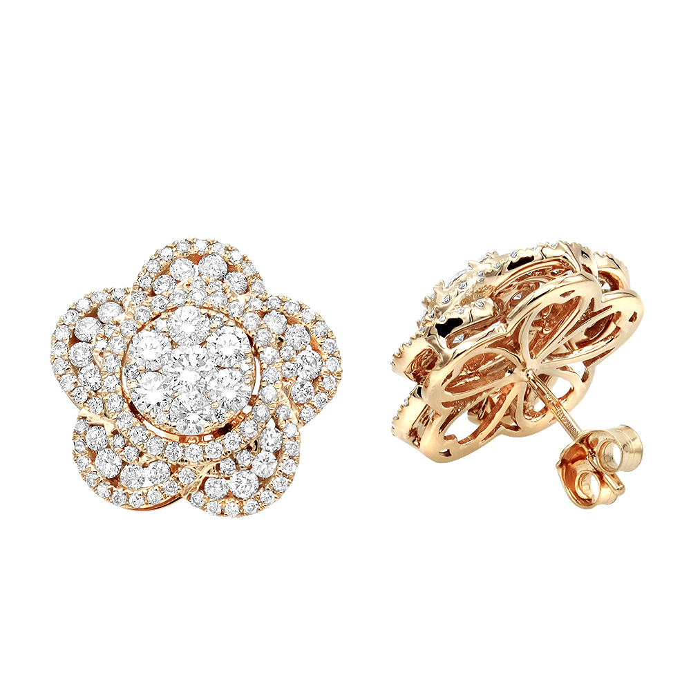 14K Gold Designer Diamond Flower Ladies Stud Earrings 3ct by Luxurman Rose Image