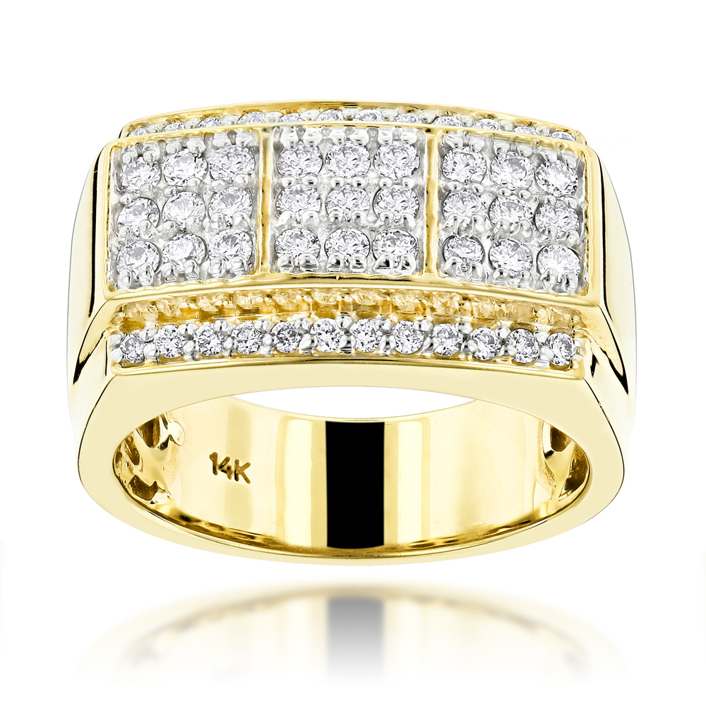 14K Gold Designer Diamond Ring for Men by Luxurman 0.95ct G-H VS-SI