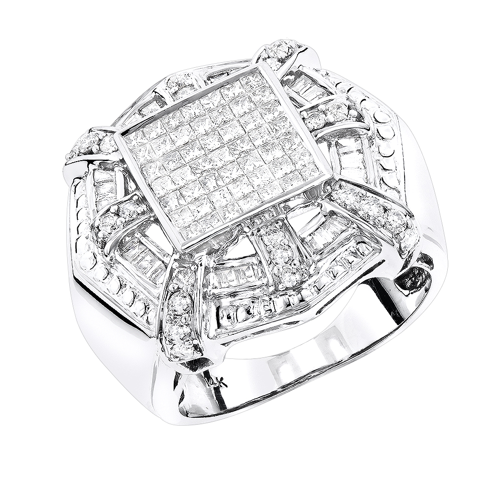 14K Gold Designer Diamond Ring Mens Collection 2.15ct White Image