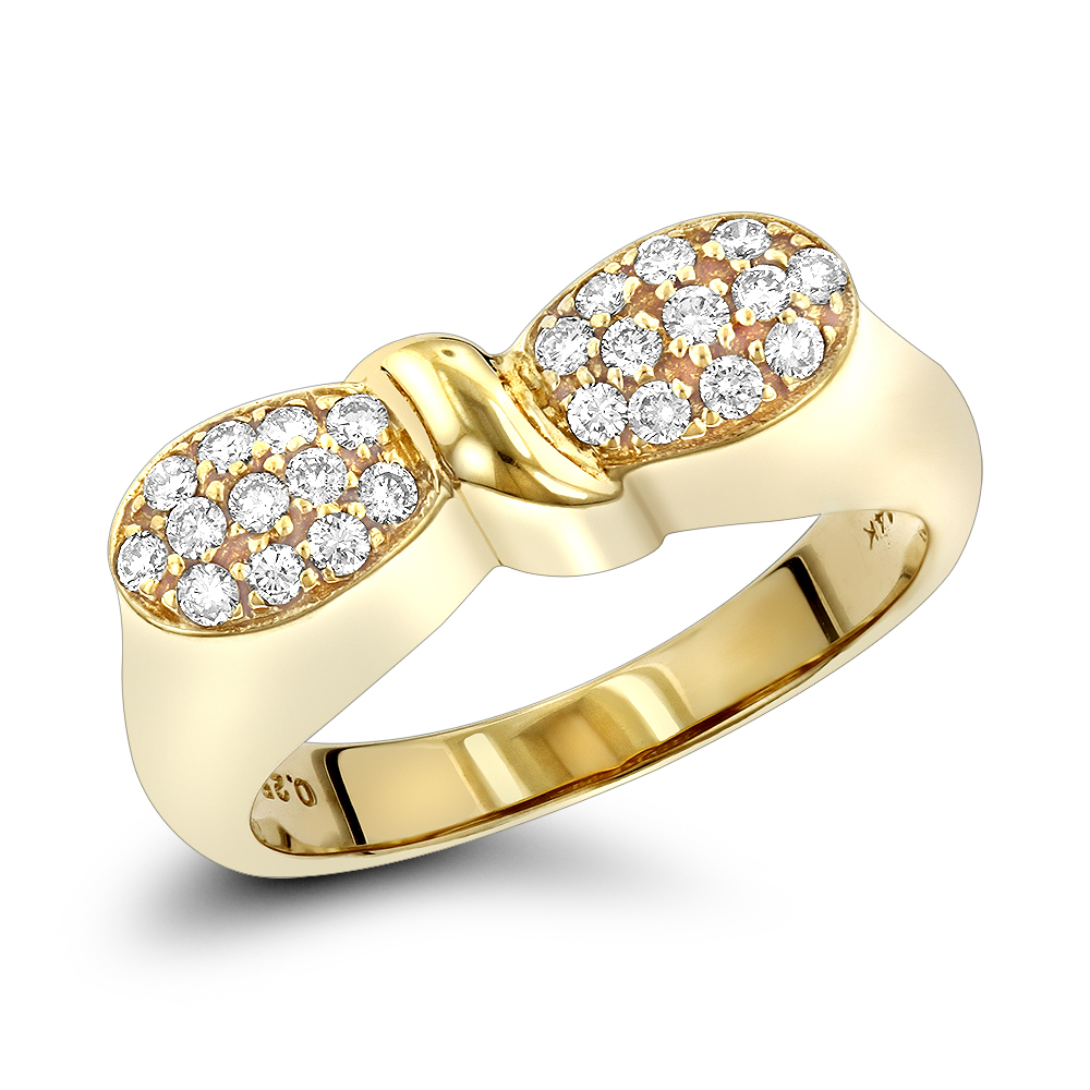 14K Gold Designer Diamond Ring w Round Diamonds 0.25ct Yellow Image