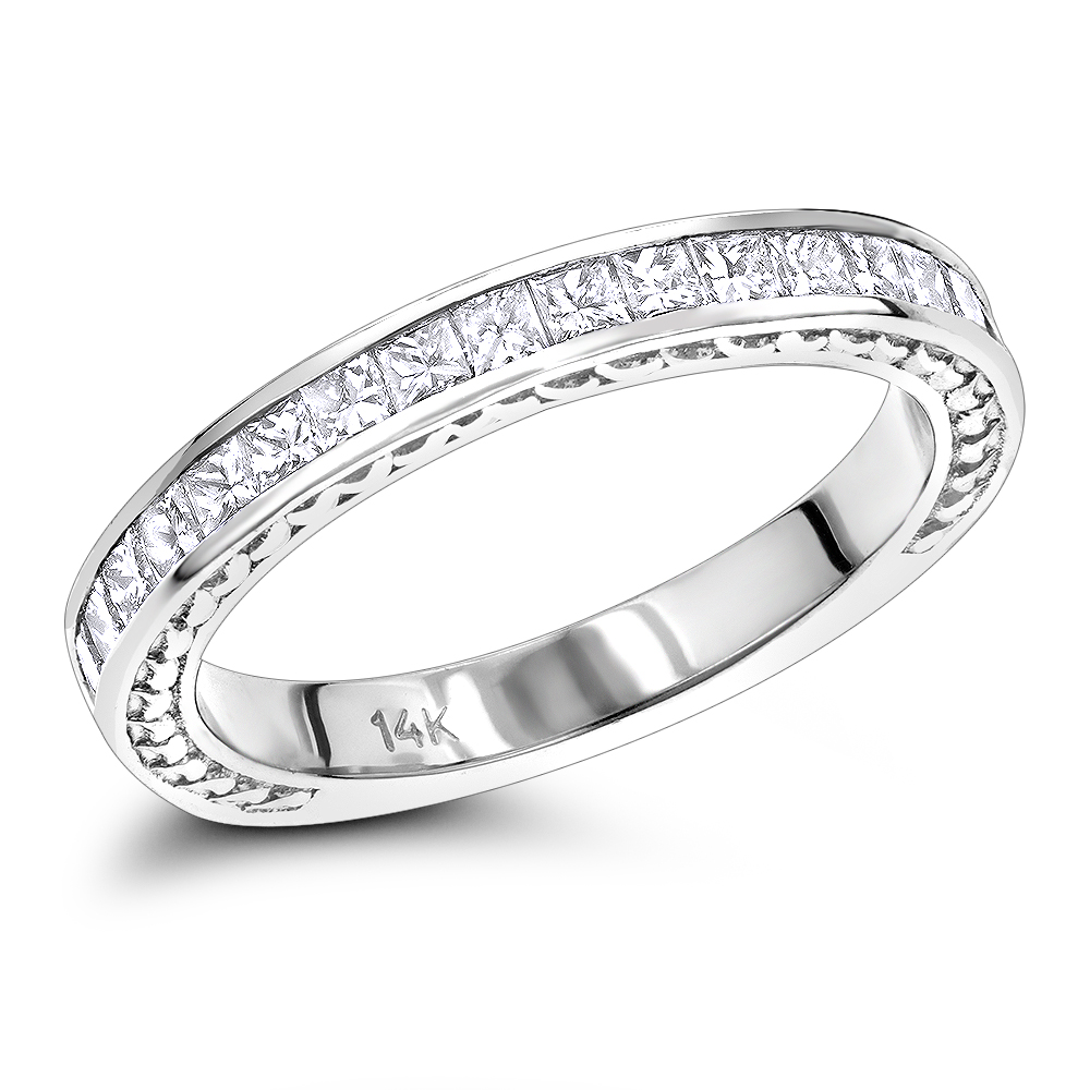 14K Gold Designer Diamond Wedding Band for Women Princess cut Diamonds 0.7ct