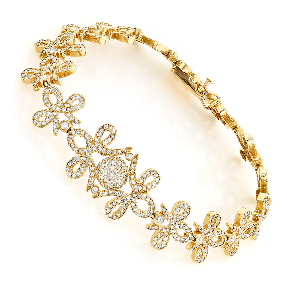 14K Gold Designer Ladies Diamond Bracelet 7.10ct Yellow Image