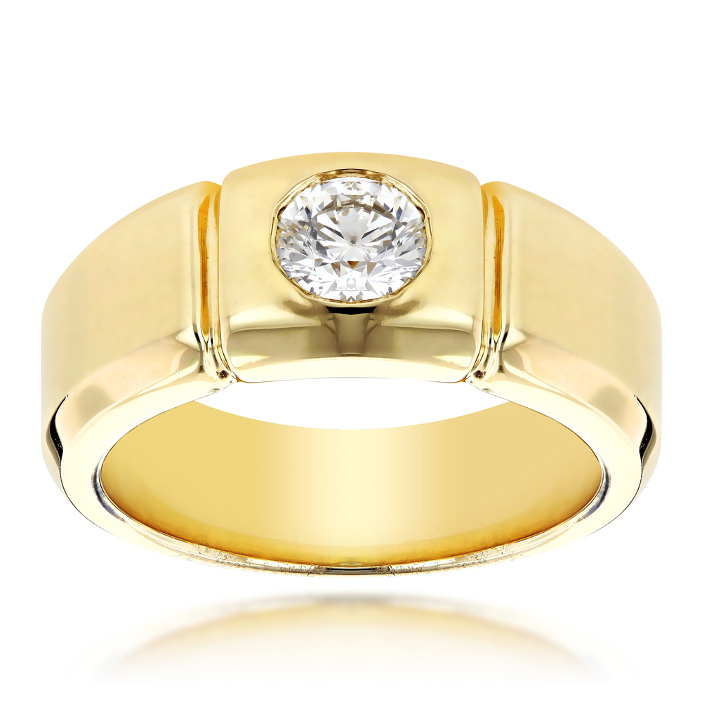 14K Gold Designer Mens Diamond Wedding Ring 0.5ct Yellow Image