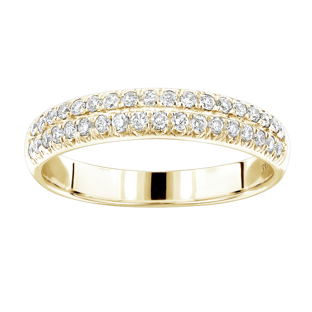 14K Gold Designer Thin Diamond Wedding Band for Women by Luxurman 0.42ct Yellow Image