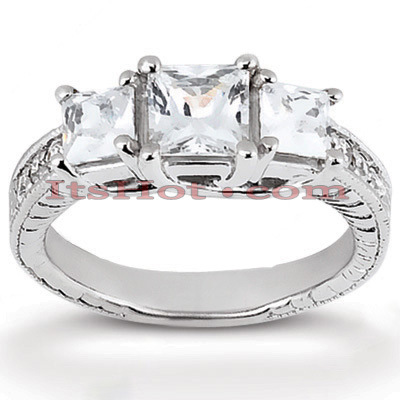 Thin 14K Gold Diamond 3 Stone Engagement Ring 0.66ct