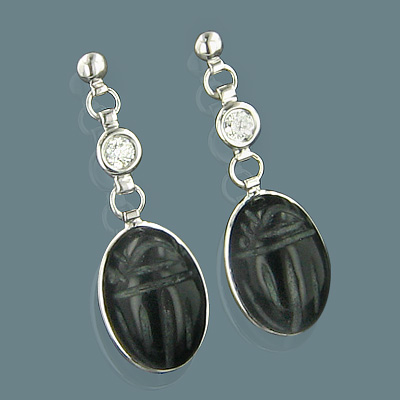 14K Gold Diamond and Black Onyx Scarab Earrings 0.25ct Main Image