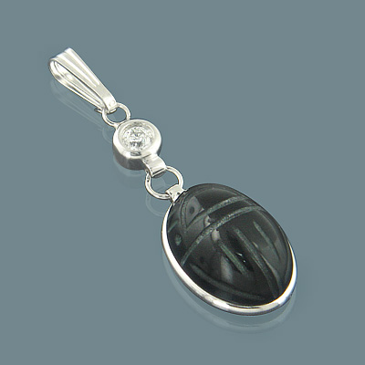 14K Gold Diamond and Black Onyx Scarab Pendant 0.12ct