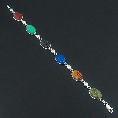 14K Gold Diamond and Multi Color Scarab Bracelet 0.72ct Main Image