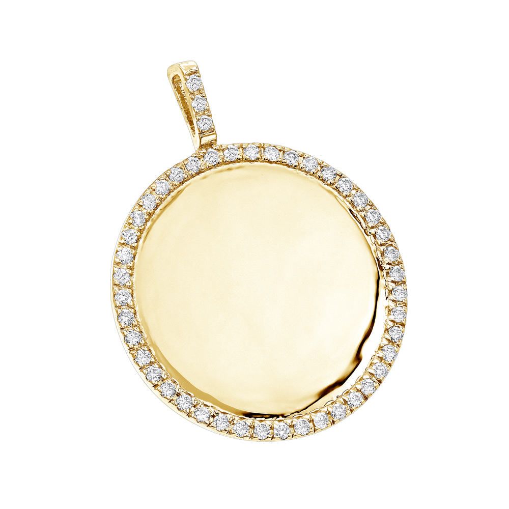 14K Gold Diamond Circle Medallion Pendant for Women 0.5ct by Luxurman Yellow Image