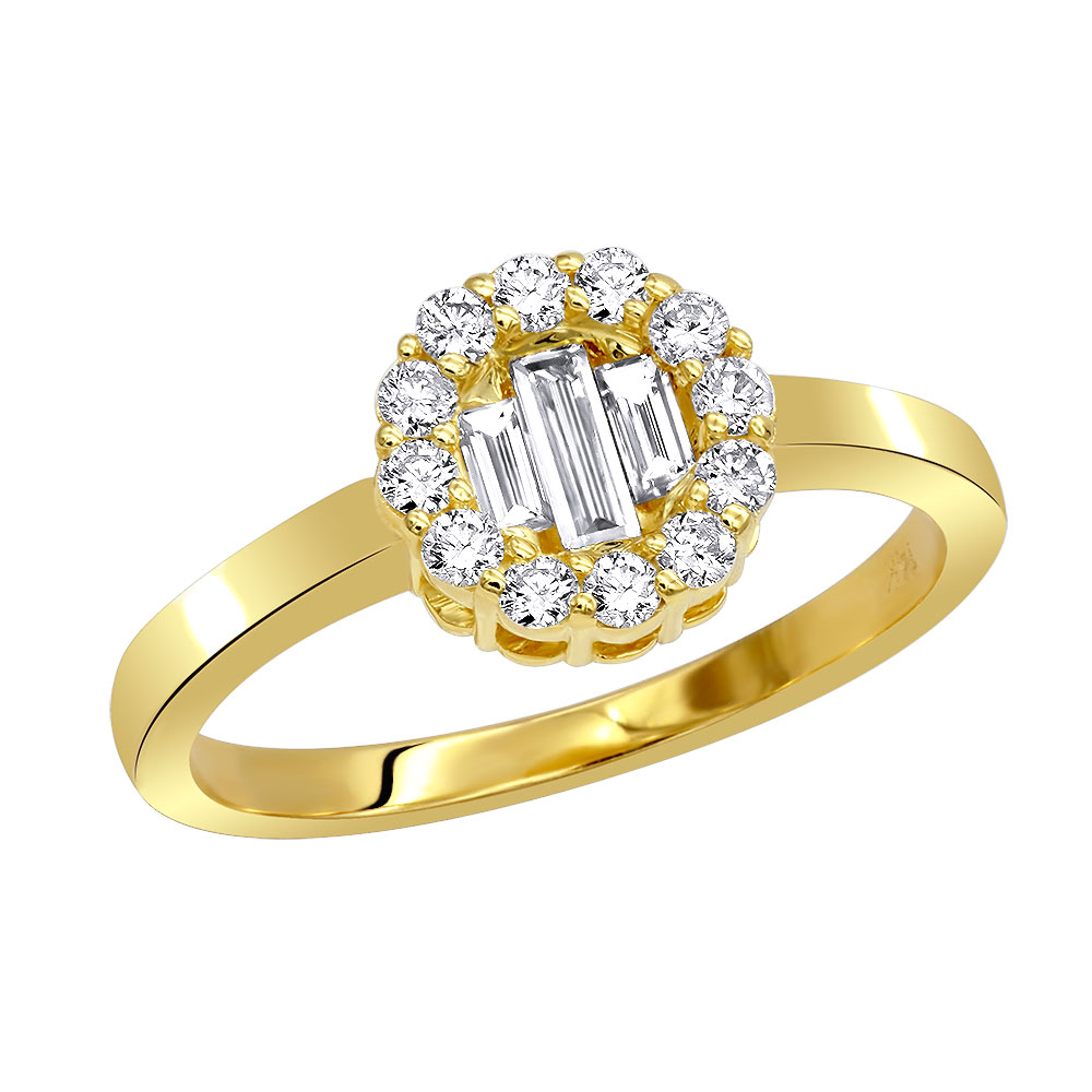 Promise Rings 14K Gold Round & Baguette Diamond Circle Ring for Women Yellow Image
