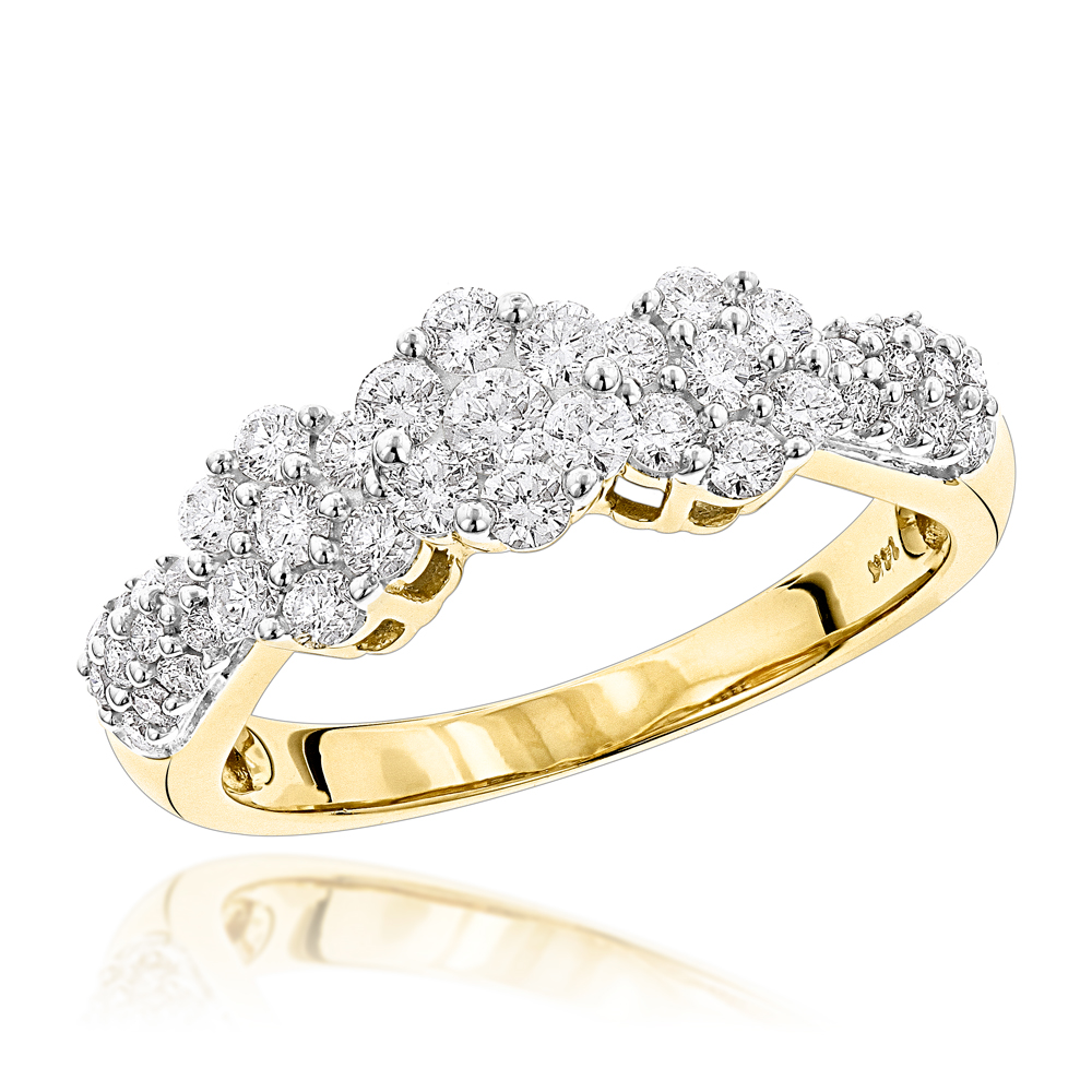 14K Gold Diamond Cluster Ring Past Present Future .95ct Yellow Image