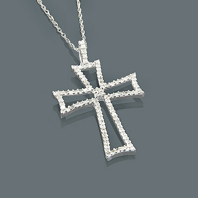 14K Gold Diamond Cross Pendant 0.42ct Main Image