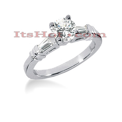 14K Gold Baguette and Round Diamond Engagement Ring 0.74ct Main Image