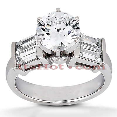 14K Gold Prong and Bar Set Diamond Designer Engagement Ring 0.74ct Main Image