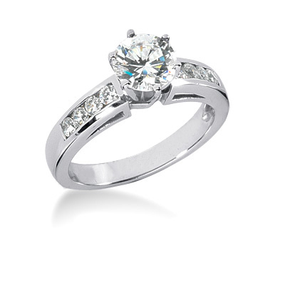 14K Gold Diamond Designer Prong and Channel Set Engagement Ring 0.74ct