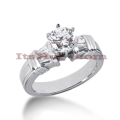 14K Gold Baguette and Round Diamond Designer Engagement Ring 0.78ct Main Image