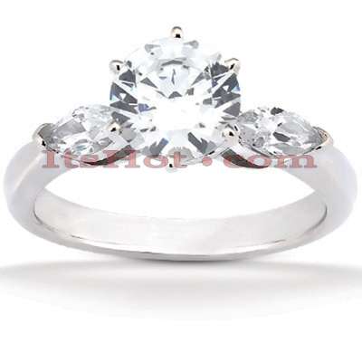14K Gold Round and Marquise Diamond Designer Engagement Ring 0.78ct Main Image