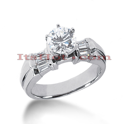 14K Gold Baguette and Round Diamond Designer Engagement Ring 0.80ct Main Image