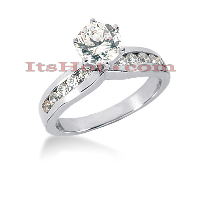 14K Gold Diamond Prong and Channel Set Designer Engagement Ring 0.82ct