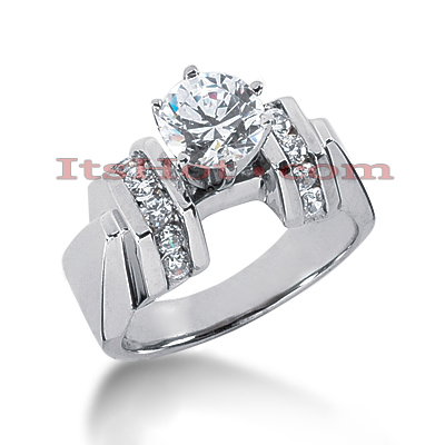 14K Gold Channel and Prong Set Diamond Designer Engagement Ring 0.86ct Main Image