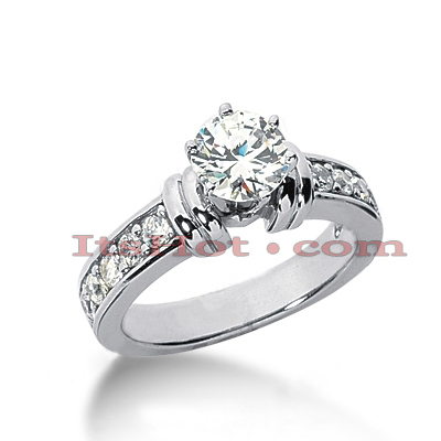 14K Gold Round Diamond Designer Engagement Ring 0.90ct Main Image