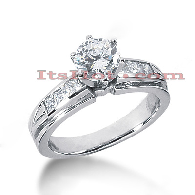 14K Gold Princess and Round Diamond Designer Engagement Ring 0.92ct Main Image