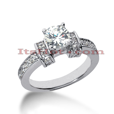 14K Gold Prong and Flush Set Diamond Designer Engagement Ring 0.94ct Main Image