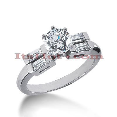 14K Gold Round and Baguette Diamond Designer Engagement Ring 0.98ct Main Image