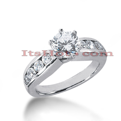 14K Gold Channel and Prong Set Diamond Designer Engagement Ring 1.02ct Main Image