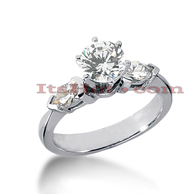 14K Gold Pear and Round Diamond Designer Engagement Ring 1.04ct