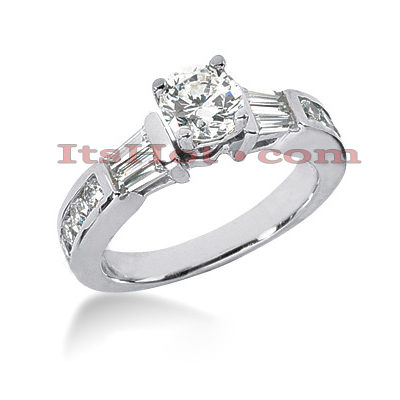 14K Gold Round and Baguette Diamond Designer Engagement Ring 1.06ct Main Image