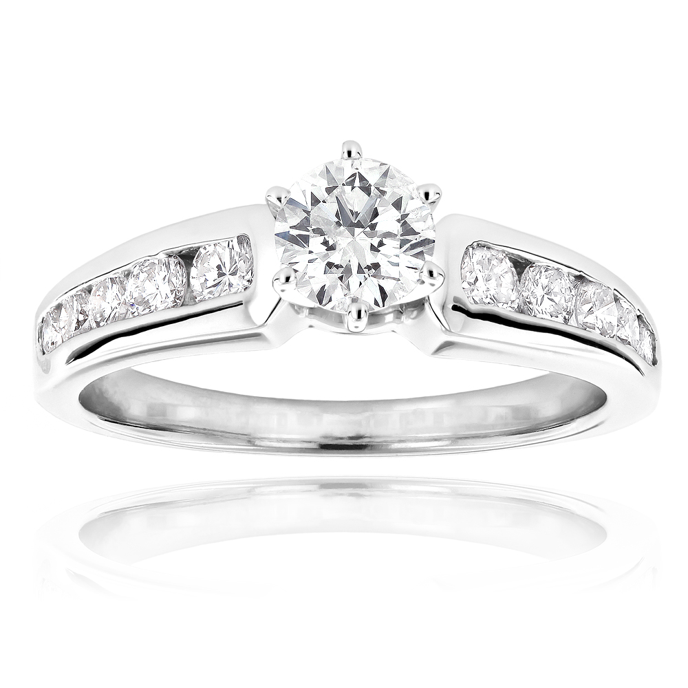 14K Gold Diamond Designer Engagement Ring 1.09ct White Image
