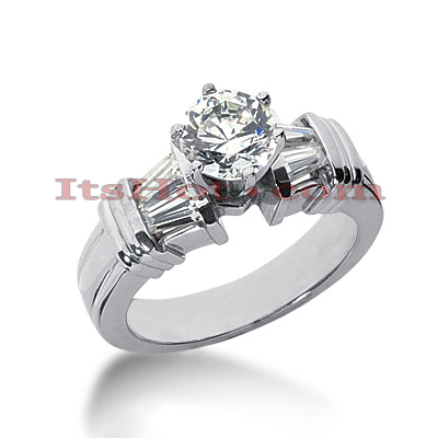 14K Gold Round and Baguette Diamond Designer Engagement Ring 1.10ct Main Image